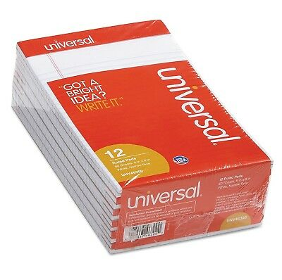 Universal 5 x 8 White 12 pk Pads Jr Legal Size Narrow Rule Perforated 50 Sheet.