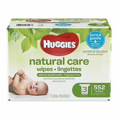 HUGGIES Natural Care Unscented Baby Wipes, Sensitive, 3 Refill Packs, 552 Count