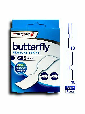36 X Masterplast Butterfly Skin Wound Closure Strips Plaster Waterproof Firstaid