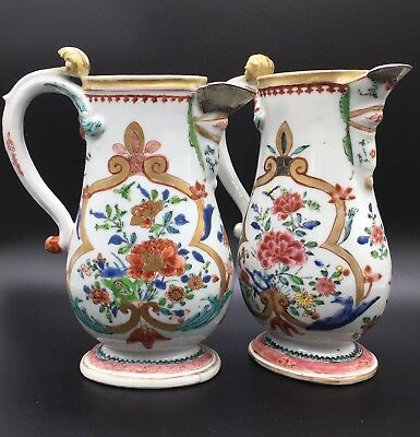 PAIR RARE 19THc CHINESE EXPORT PITCHERS W/ HAND WROUGHT SILVER SPOUTS 1780-1840