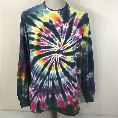 VTG 80s 90s Hanes Distressed Tie Dye Long Sleeve Shirt USA Tee L/XL Dead Tour