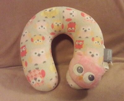 """BLANKETS & BEYOND tan pink OWL Infant Baby NECK SUPPORT plush PILLOW 9"""""""
