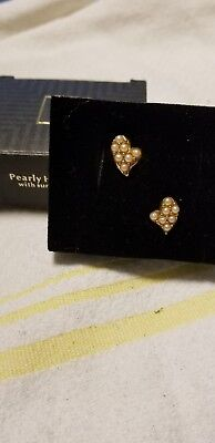 Vintage Avon Pearly Heart Earrings with Surgical Steel Posts