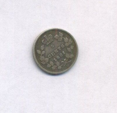 1881 H Canadian 5 Cents Silver Victoria