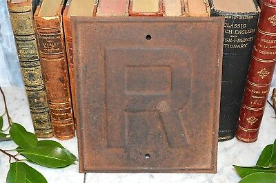 Antique Iron or Metal Letter R Railroad Sign Industrial Plaque Restrict Speed