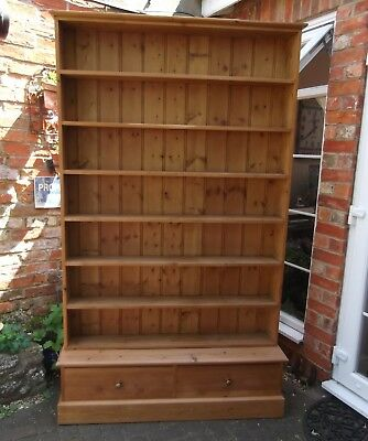 Large Tall Natural Pine Bookshelf With Two Drawers~Seven Shelves~Office~Kitchen