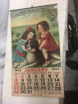 Vtg 1922 General Store  Calendar  Lithograph Girls with Saint Bernard dog