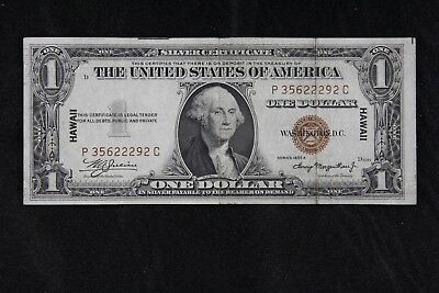 $1 HAWAII 1935A brown seal silver certificate P35622292C one dollar FREE SHIP.