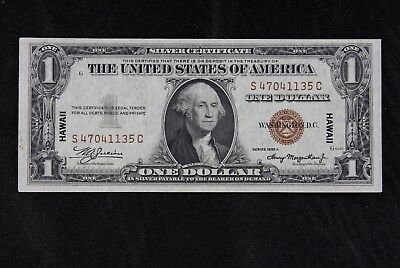 $1 HAWAII 1935A brown seal silver certificate S47041135C one dollar, FREE SHIP.