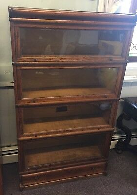 Macey's Grand Rapids 4 Stack oak  Lawyer Barrister Bookcase With Drawer Base