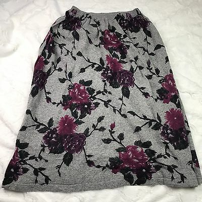 Christian Dior Separates gray floral wool/angora sweater skirt Sz. L Q