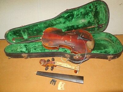Antique Unmarked Violin / 4/4 / Case & 1 Bow / For Restoration