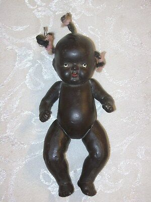 Vintage African American Black Americana Bisque Jointed Baby Doll Japan 5""