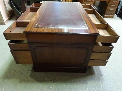 Stunningly Restored Flame Mahogany Antique Style Pedestal Partner's Desk