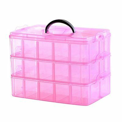 3 Layer Portable Plastic Nail Art Makeup Container Manicure Storage Boxes(R Y3F6