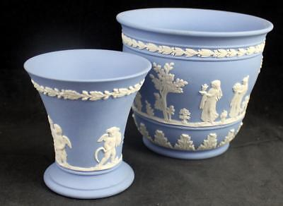 Wedgwood CREAM ON LAVENDER JASPERWARE Posy Pot and Flower Pot GREAT CONDITION
