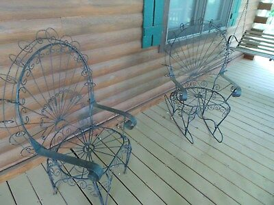 Pair Vintage/Antique PEACOCK Twisted Scroll Wrought Iron Arm Rocker and Chair