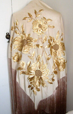 """Adorable Antique Silk Hand Embroidered Piano Shawl Scarf Wrap 22"""" Long Fringe"""