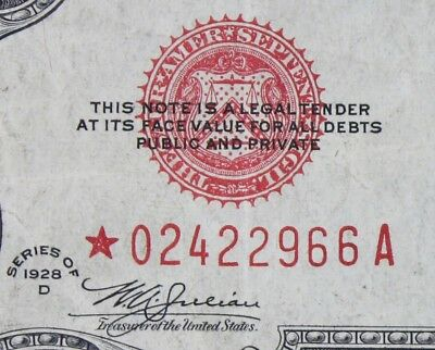$2 1928D Star Mule large red seal US Note *02422966A two dollar series D FRESHIP