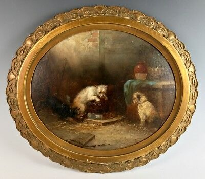 "Antique ""3 Terriers Ratting"" Painting Armfield"