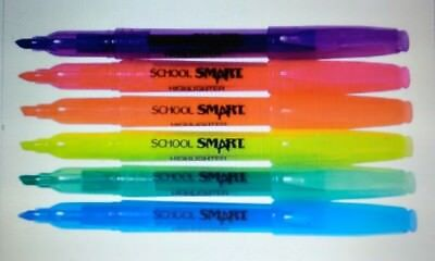 School Smart Highlighter, Chisel Tip, Assorted Colors, Pack of 6