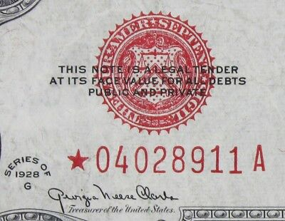 $2 1928G Star large red seal US Note *04028911A two dollar, series G, FREE SHIP.