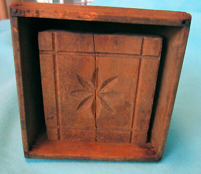 RARE 1800's Antique Square DEEP Butter Mold Box Press Star Design Dovetail joint