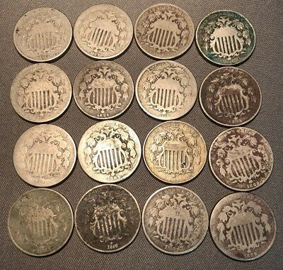 Lot Of 16 Shield Nickels, Damaged With Readable Dates