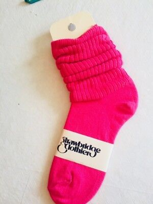 Vintage 1980's 1 Pair SLOUCH Baggy Socks Hot Pink- Made In USA