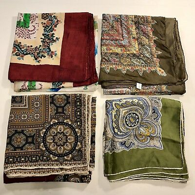 4 Scarves Square ALL 100% Silk Hand Rolled Large Kaleidoscope Red Vtg Scarf Lot