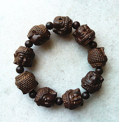 20MM Man's Nice Natural Blackwood Beads Wood Bracelet with Buddha Faces