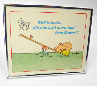 """Vintage ZIGGY Picture Framed Comic Print """"Friends"""" Puppy Seesaw 1985 Am Greeting"""