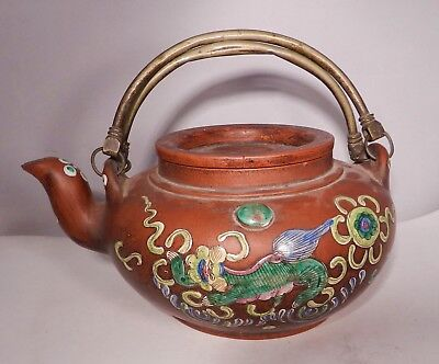 Antique 19Th Century Chinese Yixing Teapot, Signed, Colorful Animal