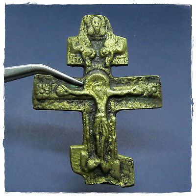 **  CROSS  ** ANCIENT BYZANTINE BRONZE AMULET double-side!crucifixion of Christ
