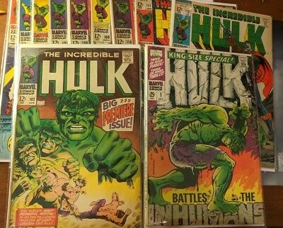 The ultimate incredible hulk 102 king size lot 102-112 bronze age  11 total