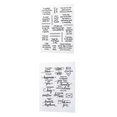 2 Greeting Words Clear Rubber Stamp Seal Block for Scrapbooking Card Making