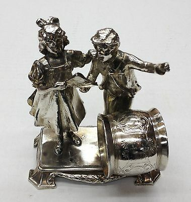 Antique Silverplate Figural Napkin Ring Christmas Carolers Extremely Rare