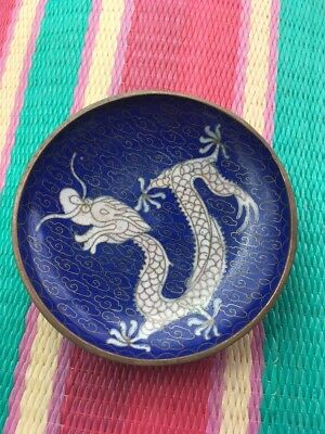 Vintage Chinese Cloisonne 5 Clawed Imperial Dragon Tray Small Dish