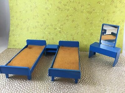 Dollhouse vintage West Germany beds dressing table, blue, Lundby size and scale