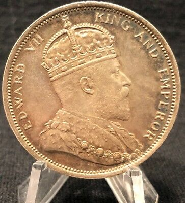 Strait Settlements - 1904 - King Edward Vii - One Dollar - Ex Rare Toned Silver