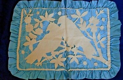 Antique Blue Satin Linen Madeira Overlay Bird Pair Silhouettes For Michael