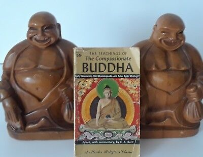 """Vintage BUDDHA Statues Bookends Hand Carved Wood Pair 9"""" RARE ~ Nice Solid Wood"""