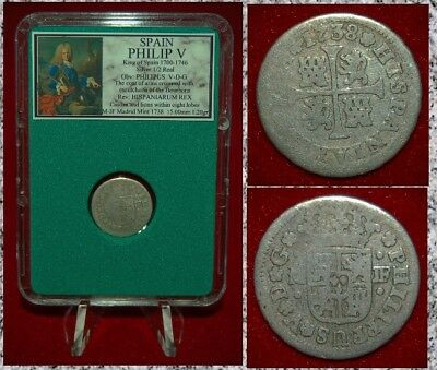 Coin Spain PHILIP V Coat Of Arms THE BOURBONS Casltle Lion SILVER 1/2 REAL