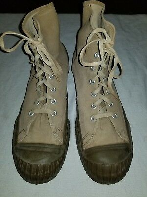 VINTAGE 40's - 50's CONVERSE BOSEY HIGH TOP MILITARY SNEAKERS MADE in THE USA 13