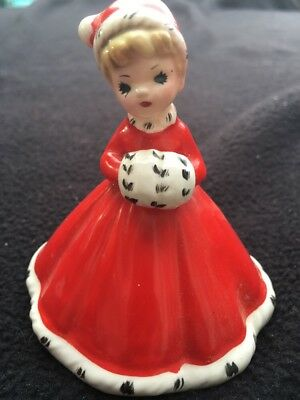 Vintage Josef Originals Girl In Red With Muff & Santa Hat Christmas Bell Signed