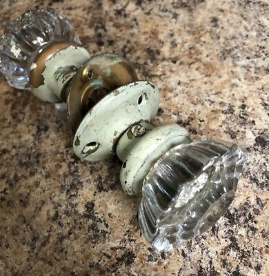 Two Matching Vintage Antique Clear Glass Door Knobs With Connecting Shaft