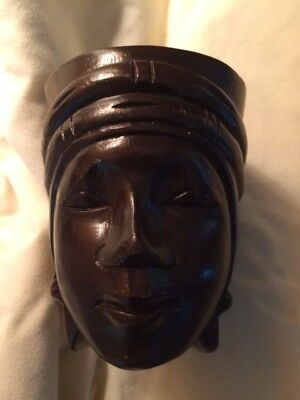 African Hand Carved Wood Cup Face  Decor