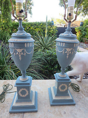 Antique Pair of Metal Hand Painted Urn Table Lamps Neoclassical French Empire