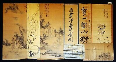 8x 19C/20C Japanese Mixed Lot Paintings, Drawings, Calligraphies (HMA) #1645