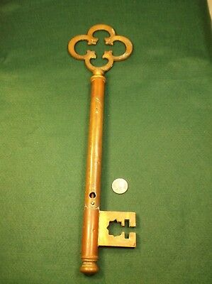 """Very Rare Old Vtg Antique Victorian Era? Solid Brass """"key"""" Thermometer, 4 Repair"""